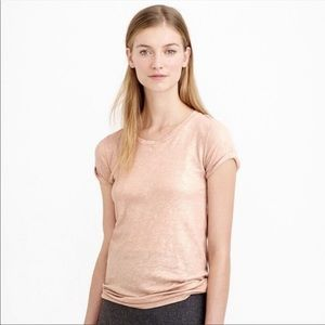 J. Crew Taupe Gold Shimmer Short Sleeve T-Shirt L